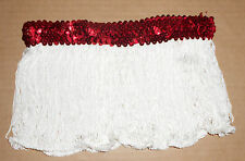 NWT Red Sequin White Fringe Dance Tap Skirt Small Child