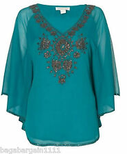RRP £55 EX MONSOON TEAL BLUE BATWING KIMONO SLEEVE SUMMER PARTY TOP GOLD BEADS
