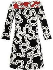 DVF Diane Von Furstenberg RURI Silk Jersey Tunic Dress Chains Grey Red $345