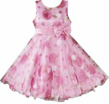 Pink Chiffon Floral Christmas Pageant Flower Girls Dresses SIZE AGE 3,4,5,6,7,8Y
