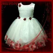 R476 Toddler Girl Red Christening Flower Girls Dress SIZE 9-18 Mths-1-2-3-4-5-6T
