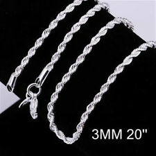 solid 3MM Rope Fashion silver Plated Chain Necklace for Charms Pendant /C014-925