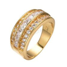 Jewelry AAA Class Ring size10/11/12 white sapphire man's 10KT yellow Gold Filled