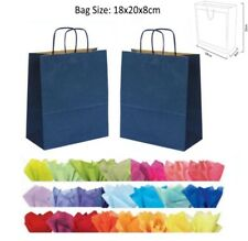 20 x 18 x 8 cm Navy Blue Paper Party Gift Bags Wedding Favour Gift Bag & Tissue
