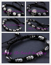 "carved skull bead crystal disco ball bead adjustable bracelet 6""-8"" for paracord"
