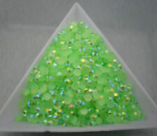 Jelly grass green AB crystal Multiple faceted resin Flat Back Rhinestones glue