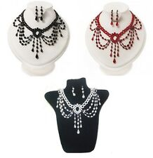 Ladies Black Red Cream Tattoo Gothic Vintage Type Choker Necklace Earrings Set