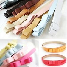 New Candy Color Women Lady Bowknot PU Leather Thin Skinny Waist Belt Waistband