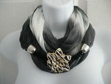 NEW Women Infinity Circle Scarf Jewelry Scarf Flower Pendant Necklace