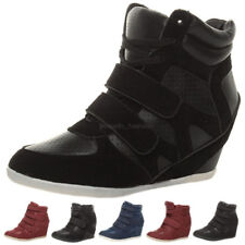 WOMENS LADIES HIGH WEDGE LACE UP HI HIGH TOP TRAINER ANKLE SHOE BOOTS SIZE