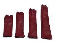 Custom made 30cm to 80cm long plain style evening real leather gloves*burgundy