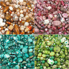 Luxury Indian Glass Lampwork Bead Mix Orange Blue Teal White 100g OR 500g
