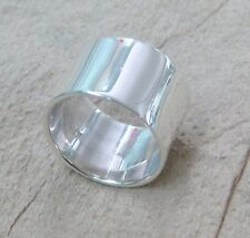 SOLID 925 STERLING SILVER PLAIN 13.5mm POLISH SHINY THICK FLAT BAND DRESS RING