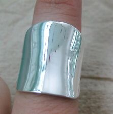 SOLID 925 STERLING SILVER PLAIN POLISHED SHINY CONCAVE CURVED THICK BAND RING