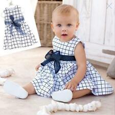 Baby Toddler Top Bow-knot Plaids Dress Outfit Clothes Kids Cotton Size 0-3 Years