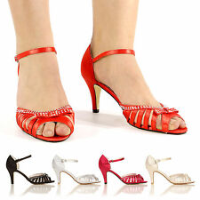 NEW ANKLE STRAP HIGH HEEL WOMEN LADIES DIAMANTE SANDALS SIZE 3 4 5 6 7 8