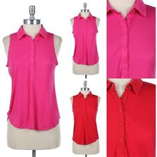 Sleeveless Half Button Front Collared Shirt Top High Low Hem Casual Pink Red