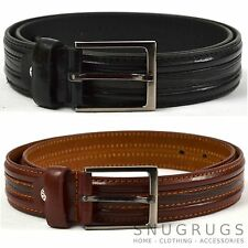 MENS LEATHER BELT 1.25'' STITCHING DETAIL MILANO BLACK BROWN ALL SIZES