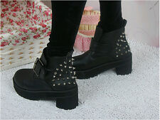 Hot Woman's Black Spike Stud Buckle Strap Punk Gothic Platform Ankle Boots Shoes