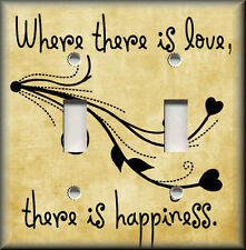 Light Switch Plate Cover - Where There Is Love There Is Happiness - Tan