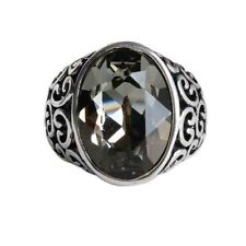 Gorgeous Big Black Swarovski Crystal Ring Party Cocktail Wedding Promise R13