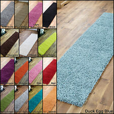 NEW MODERN THICK 5cm DEEP PILE LONG BLUE GREEN BLACK BROWN RED BEIGE RUNNER RUGS
