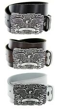 Eagle Crest Silver Buckle with Genuine Leather Casual Belt Strap