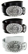Skull Made in Italy Silver Buckle with Genuine Leather Casual Belt Strap