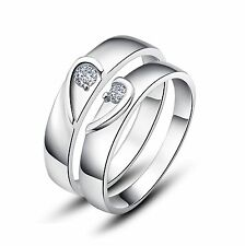 925 Sterling Silver Couple Love Wedding Bands Rings Size 4.5-12 Sy10