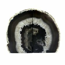 Crystal Allies Gallery: Pair of 3lbs Polished Agate Stone Geode Halves Bookends