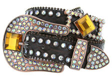 Western Rhinestone Cowgirl Studded Crystal Womens Genuine Leather Belt, Brown