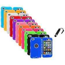 Deluxe Hybrid Cover Case+Protector+Stylus Plug for iPod Touch 4th Gen 4G 4