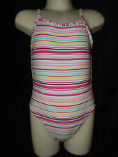 NEW GIRLS SWIMMING COSTUME SWIMSUIT CUTE CANDY STRIPE DESIGN HOLIDAY 4-12 years