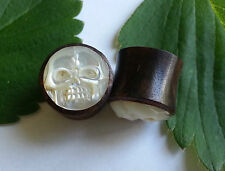1 Pair Organic Carved Skull Mother of Pearl Sono Wood Ear Plugs Tunnels Gauges
