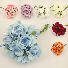 Bunch of 10 Artificial Foam Roses with Gyp!  With or Without Glitter! Flowers