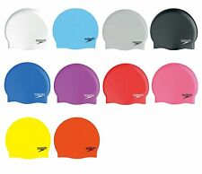 SPEEDO MOULDED SILICONE SWIMMING SWIM CAP NEW WHITE BLACK RED GREEN BLUE PINK