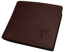 Blue Mount New Mens Brown Leather Wallet Purse 2 Zippered Pocket ID Window