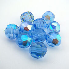 10 vintage Swarovski faceted round blue AB crystal beads 10mm article 5000