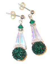 CLEAR AB & GREEN Crystal Earrings Disco Ball Sterling Silver Swarovski Elements