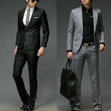 New Men's Stylish Fashion One Button Slim Fit Formal Dress Suit IN Black Grey #M