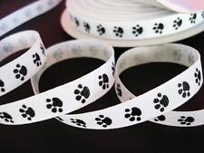 "5 OR 25 yards Roll Mini Dog Paw 3/8"" Grosgrain Print Ribbon/craft R81-38-White"