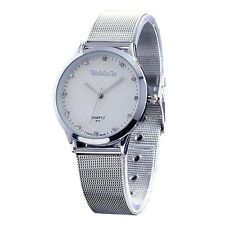 Whole Silver Couple Lover Stainless Steel Mens Womens Quartz Wrist Watch Watches