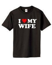 I Heart My Wife Men's Black T-Shirt Love Funny Anniversary Classic Marriage New!