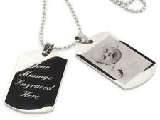Personalised men's ENGRAVED double dog tags - text & photo engraving - Ref-DT2