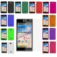 For LG Spirit 4G MS870 Rubberized Hard Cover Case Accessory+Screen Protector NEW