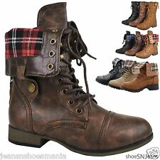 Women's Lace-Up Military Army Combat Riding Fold Over Plaid Boots Shoes Forever