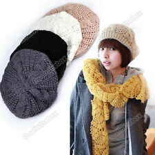 Women Beret Braided Baggy Beanie Crochet Warm Hat Ski Cap Winter New