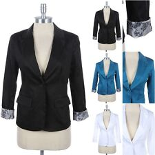 One Button Cotton Twill Blazer Long Sleeve V Neck Floral Lining Two Side Pockets