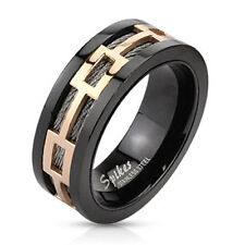 316L Stainless Steel Men's Rose Gold Design Over Black Wire Band Ring Size 9-13