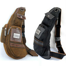Women Men's Canvas Mobile Phone Shoulder Knapsack Rucksack Chest Pack Waist Bag
